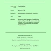 MGD Hansard 1985
