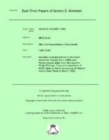 Misc Correspondence / Documents [MGD E20]